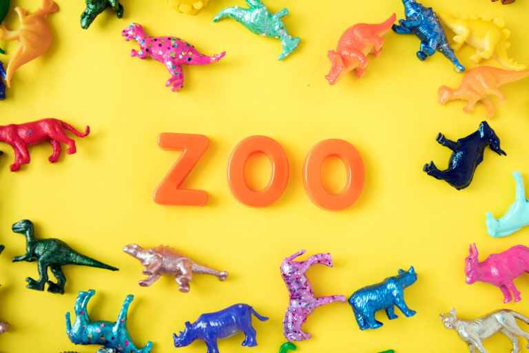 assorted color animal miniatures and zoo letter decor
